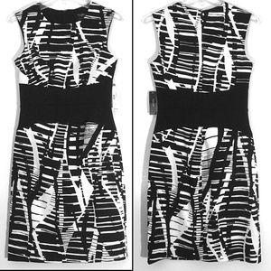Bisou Bisou Graphic Black & Offwhite Dress